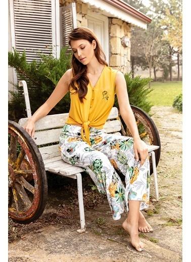 Anıl Çiçek Nakışlı Belden Bağlama Sarı Pijama Takım Hardal